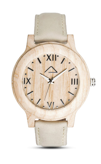 VALLUGA with beige suede strap - WOOD WATCHES WOODWATCH - ECO-FRIENDLY WATCHES HEADPEACE - HEADPEACE