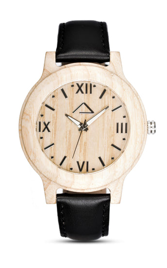 VALLUGA with black leather strap - WOOD WATCHES WOODWATCH - ECO-FRIENDLY WATCHES HEADPEACE - HEADPEACE