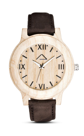 VALLUGA with dark brown suede strap - WOOD WATCHES WOODWATCH - ECO-FRIENDLY WATCHES HEADPEACE - HEADPEACE