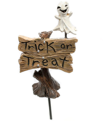 Halloween Trick or Treat Sign Pick with Ghost