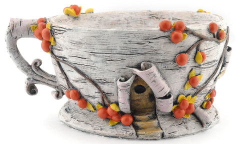 Tea Cup Planter | Birch Bark