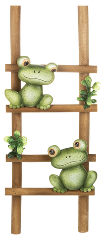Frogs on Ladder Wall Plaque