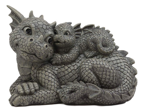 Piggyback Mama and Baby Garden Dragon