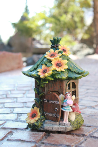 Solar Fairy House with Yellow Flowers