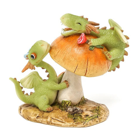 Mini Dragon Frolicking on Mushroom