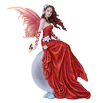 Crimson Lily Crescent Moon Fairy Figurine