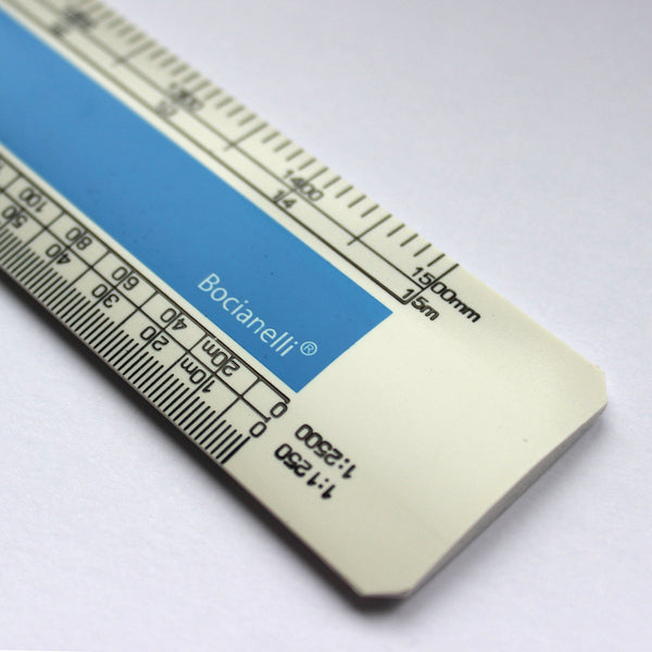 "Professional Metric 30cm 12"" Plastic Flat (Oval) Scale Ruler 1:1 1:5 1:20 1:50 1:100 1:200 1:1250 1:2500"