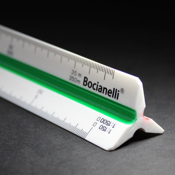 "Professional 30cm 12"" Metric Plastic Triangular Scale Ruler 1:20 1:25 1:50 1:100 1:125 1:150 / 1:200 1:500 1:1000 1:1250 1:1500 1:2500 in a Case"