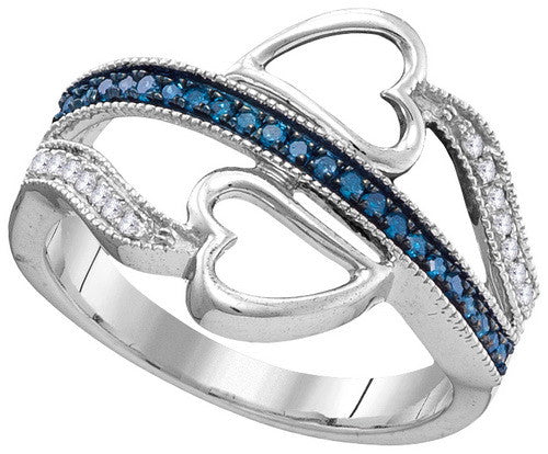 Heart Blue Diamonds Rings