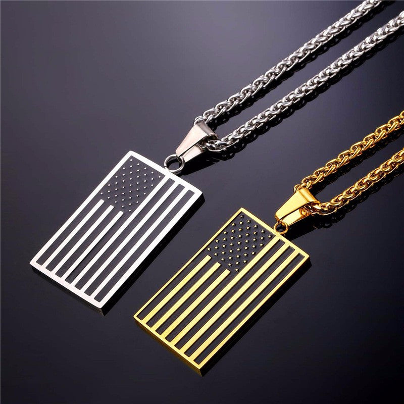 Gold US Flag Pendant Necklace