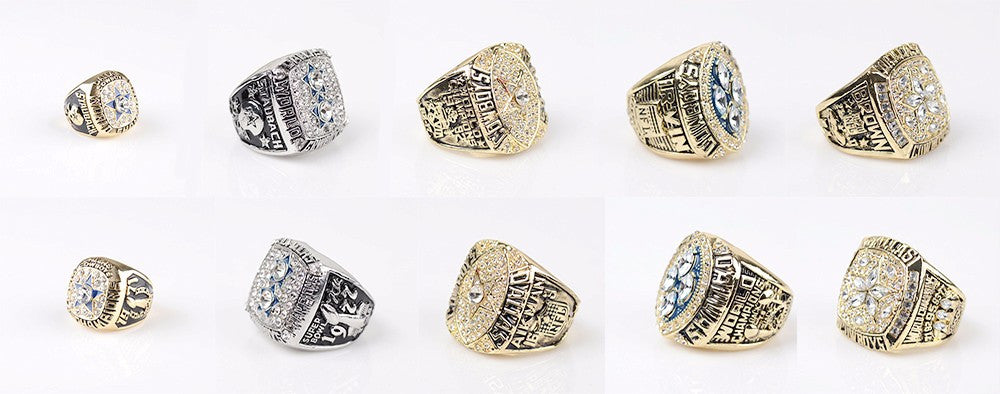 Dallas Cowboys Super Bowl Championship replica rings set w/Collection case