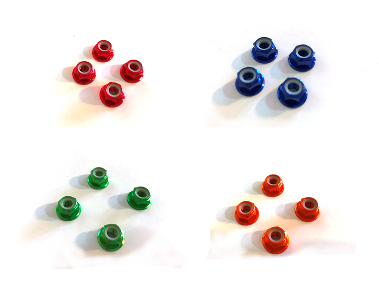 M5 Aluminum colored flange lock nut (nylock - 4 pcs)