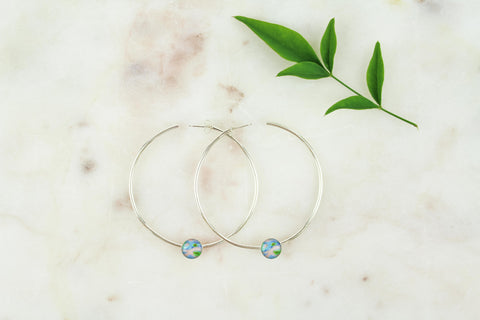 large power hoop earrings in sterling silver that give back to Alzheimer's awareness