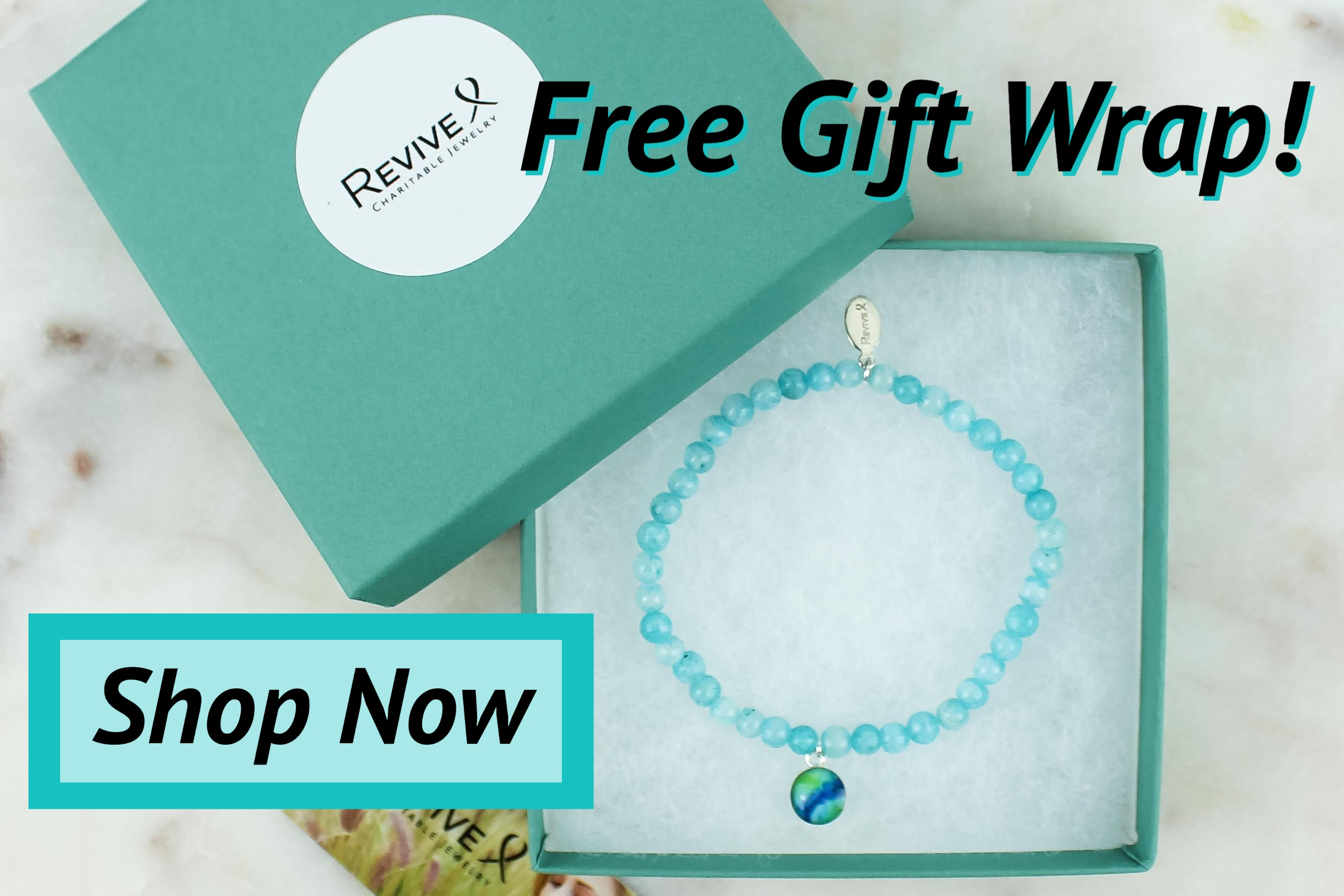 free gift wrap awareness bracelet in gift box