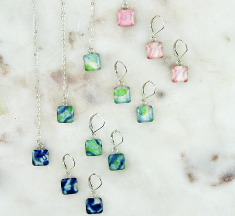 building blocks awareness necklace and earrings jewelry set that gives back