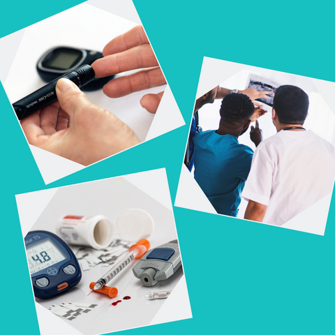 Collage of diabetes related images, insulin and testing kits, doctors looking at test results