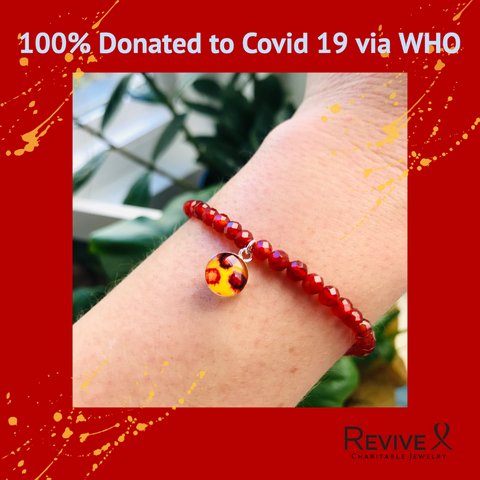 100 percent donated to covid 19 via who bracelet based on covid 19 image with red carnelian beads on wrist