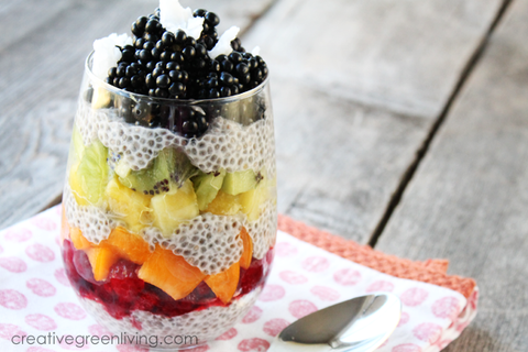 layered chia seed and fruit pudding