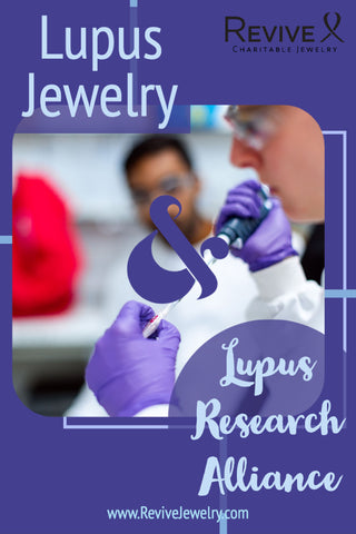 lupus jewelry and lupus research alliance pin with scientist