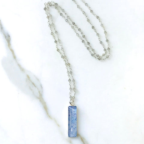 long labradorite stone linked chain necklace with multiple sclerosis awareness pendant that gives back to research