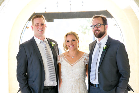 Nikki, Zack and Ted at her wedding