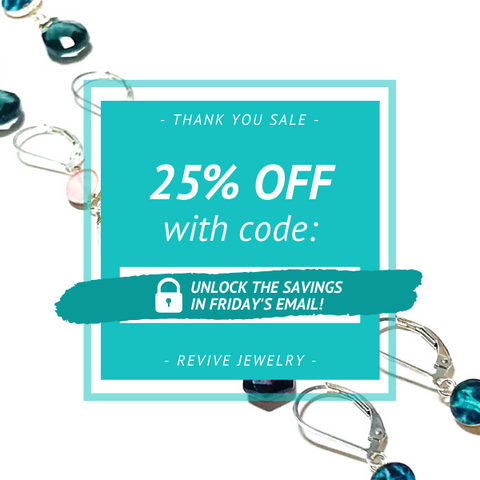 Thank You Sale Graphic with Code Blocked, Unlock in Friday's Email