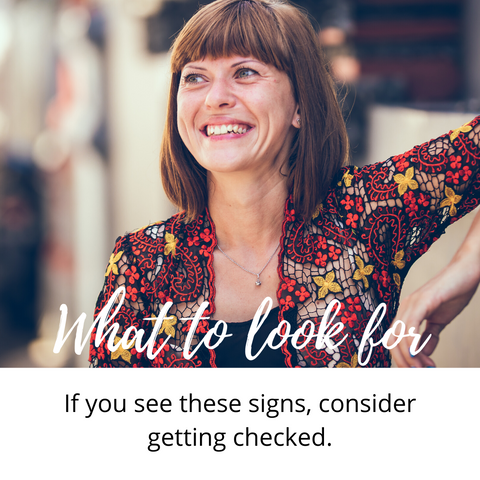 smiling woman what to look for if you see these signs consider getting checked
