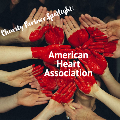 hands painted with red to make a heart shape, charity partner spotlight: American Heart Association