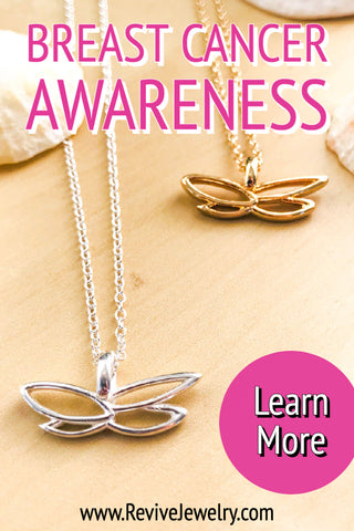breast cancer awareness jewelry butterfly pendant necklace based on histology slide that gives back