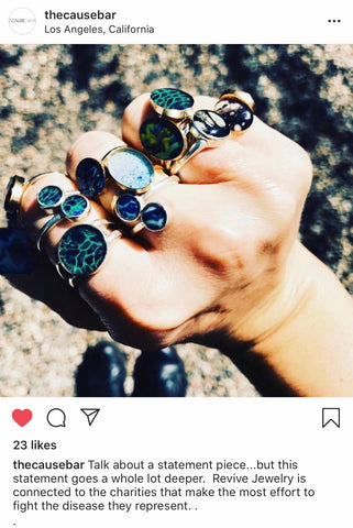 the cause bar feature of revive Jewelry screen shot from instagram