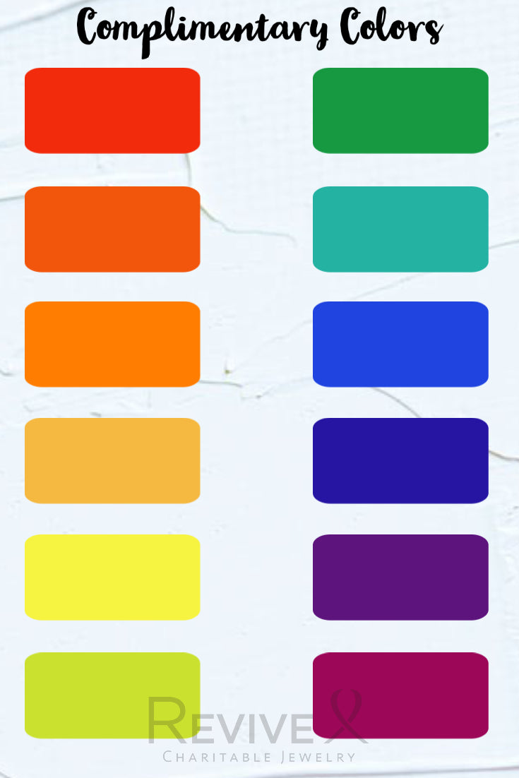 complimentary colors chart for wearing colorful jewelry
