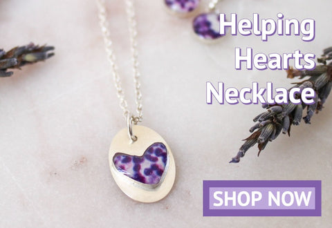 helping hearts necklace for lupus research and awareness
