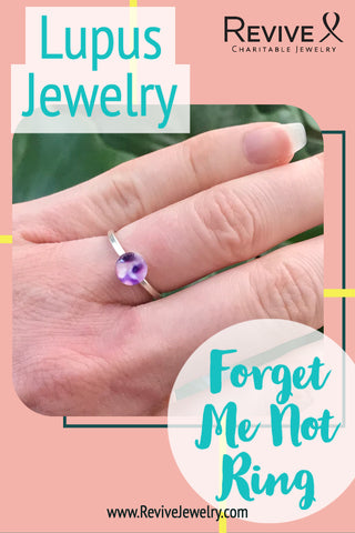 lupus jewelry forget me not ring on hand pin for pinterest