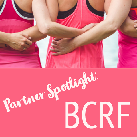 Women dressed in pink arm in arm from behind with the words Partner spotlight BCRF below