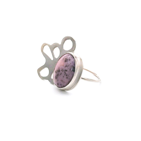 pink opal silver ring for liver disease