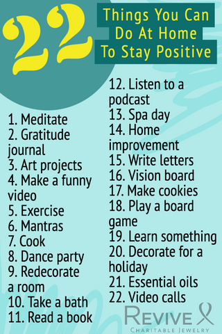 22 things to do at home to stay positive infographic pin