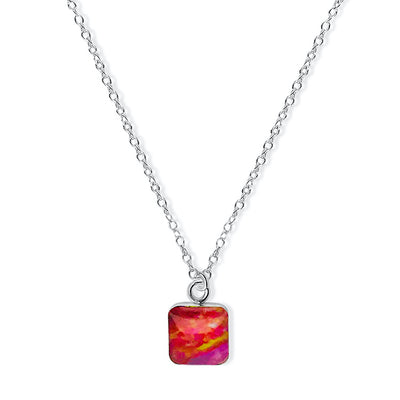 close up of square pendant chain necklace for heart disease awareness gives back to research