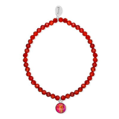 awareness stretch bracelet with red carnelian stones and small round sterling silver pendant with heart disease cell image under resin