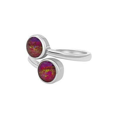 sterling silver ring with two red, purple and yellow heart disease histology slides under resin