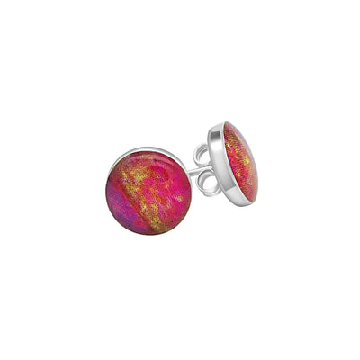 sterling silver stud earrings with heart disease image under resin
