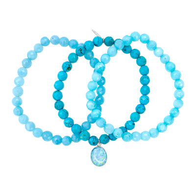 teal jade, aquamarine and blue turquoise stretch awareness bracelets with oval Alzheimer's resin pendant