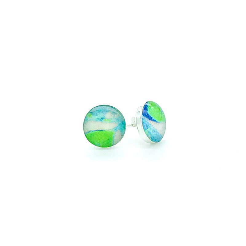 sterling silver studs with green blue and white images set in resin post earrings