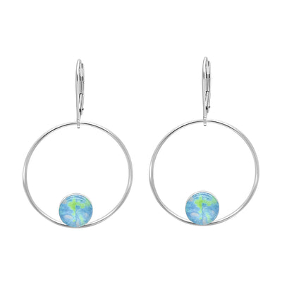 unity hoop earrings for alzheimer's awareness, sterling silver large hoops with smaller circular pendants at bottom of alzheimer's cell image under resin with leverbacks