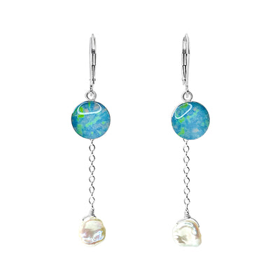 Alzheimer's awareness earrings with pearl dangle from chain that give back