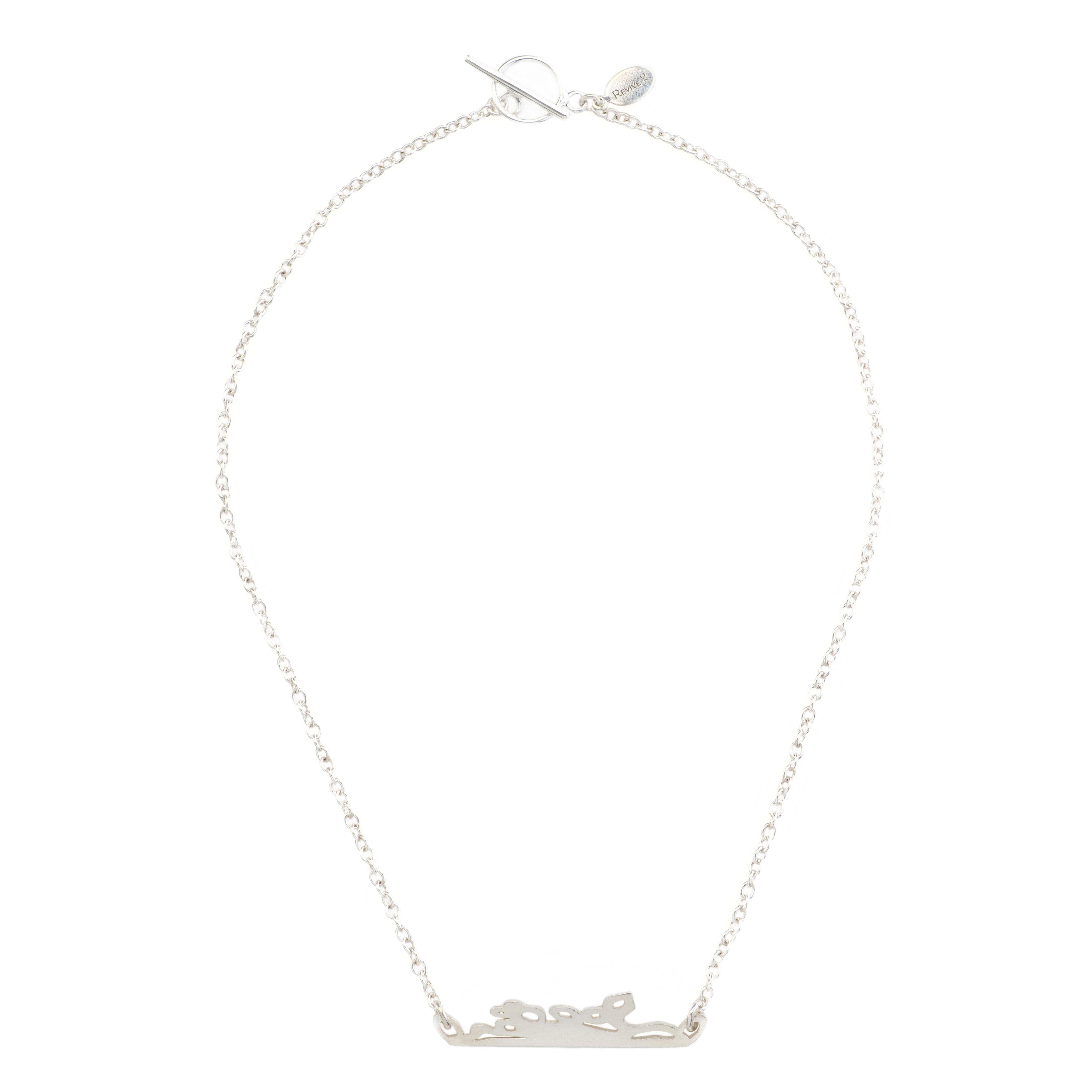 short chain necklace with sterling silver chain and sterling silver bar pendant necklace