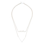 short silver necklace with double sterling silver chain, bar pendant and textured V detail necklace