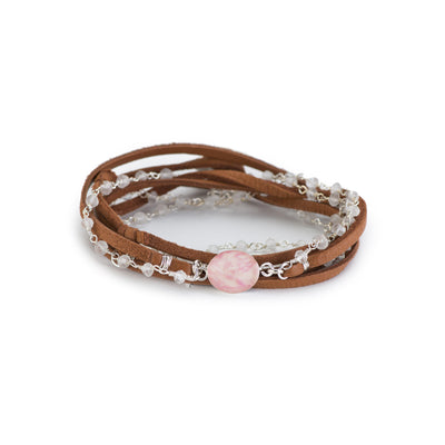 wrap bracelet for breast cancer with pink pendant based on histology slide with brown leather and crystal quartz stone in sterling silver