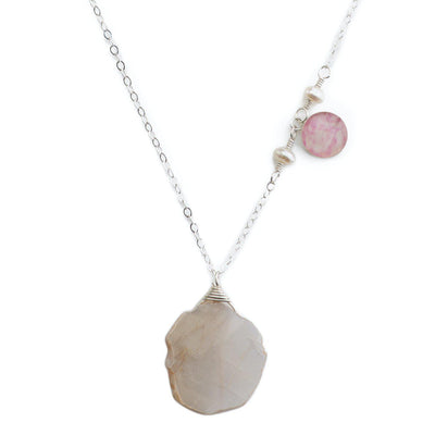 Breast cancer awareness necklace close up with peach moonstone and pearls