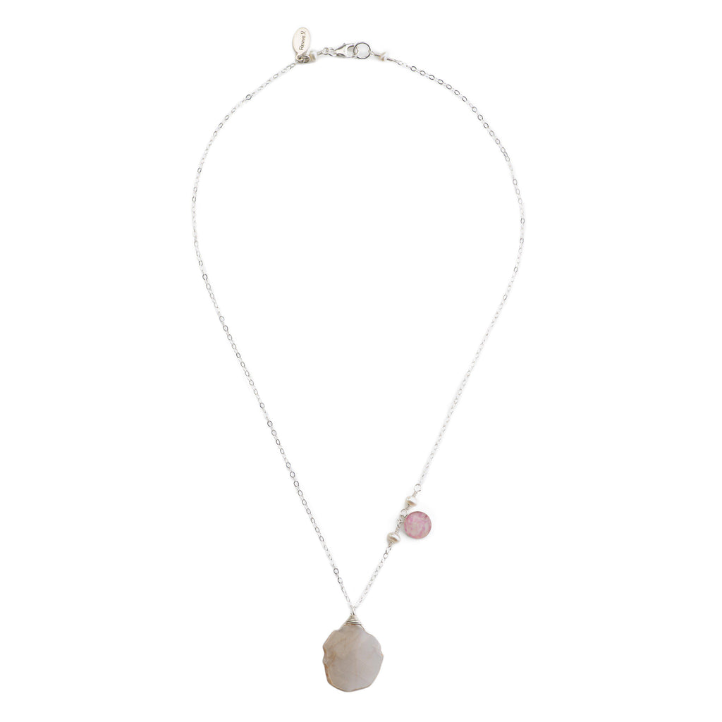 short chain necklace, asymmetrical design, sterling silver chain with pearls, peach moonstone and pink and white sterling silver pendant necklace