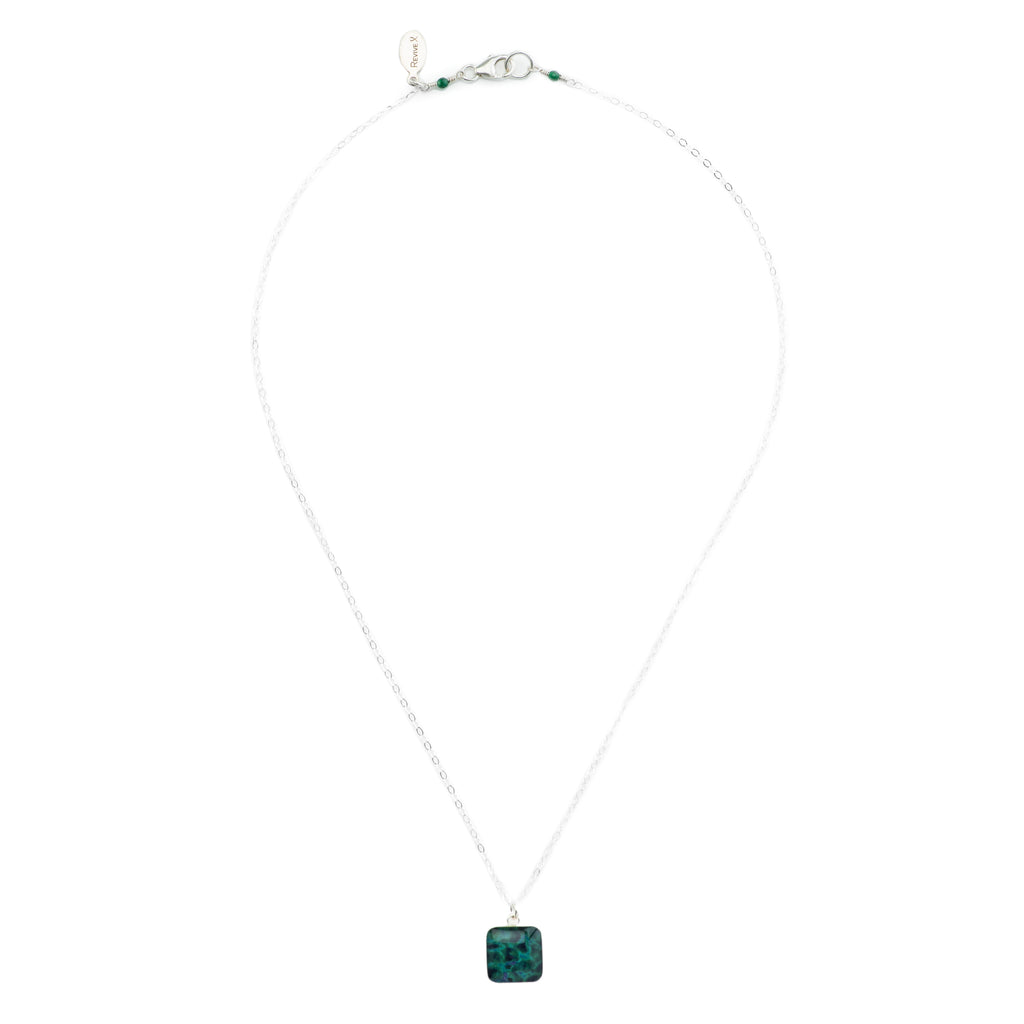 short chain necklace, sterling silver chain with blue and green square sterling silver pendant necklace